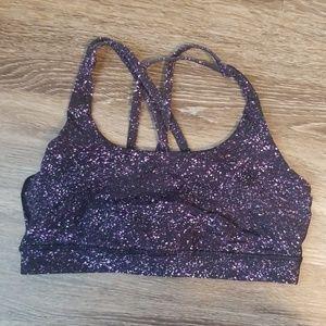 Gently worn purple space Lululemon energy bra